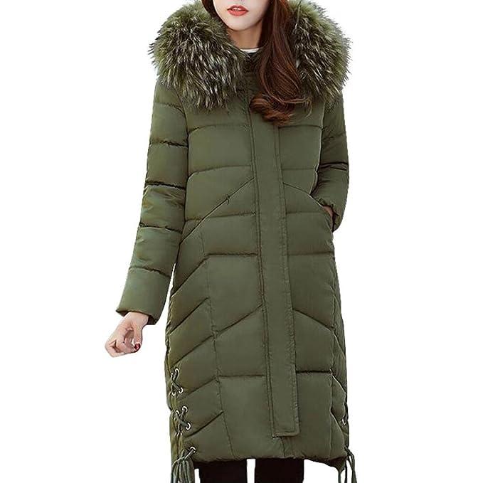 Internert Chaqueta de invierno para mujer Cuello de piel grande Ropa de algodón delgada Largo y
