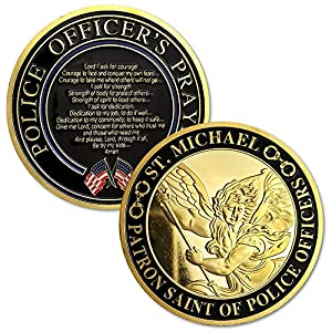 Xsong St. Michael Police Challenge Coin Patron Saint of Law Enforcement Officers US Military Prayer Coin from Xsong