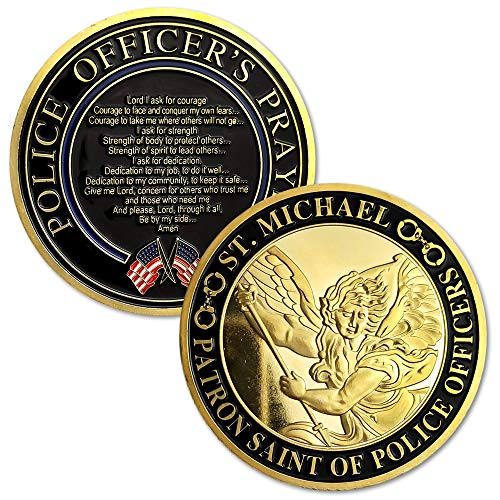 Xsong St. Michael Police Challenge Coin Patron Saint of Law Enforcement Officers US Military Prayer ()
