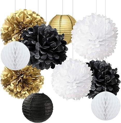 10 Pack Hanging Honeycomb Balls Paper Lanterns Pompoms Garland Party Decorations