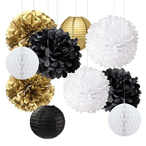 New Years Decorations Gold Black White Party Decorations Kit Tissue Paper  Pom Poms Flower Paper Lanterns Paper Honeycomb Balls Party Hanging
