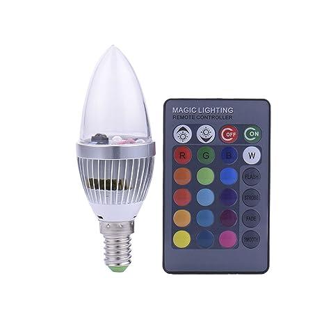 3 W E14 RGB LED bombilla 16 Cambio de color con mando a distancia