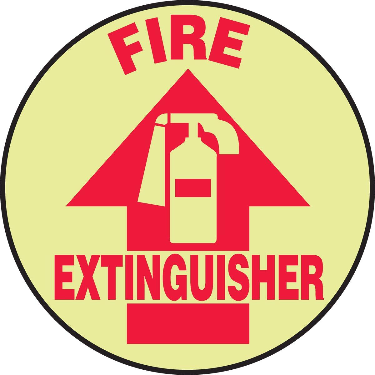 Accuform MFS771 Slip-Gard Lumi-Glow Flex Adhesive Vinyl Round Floor Sign, Legend''FIRE Extinguisher (Arrow)'', 17'' Diameter, Red on Glow