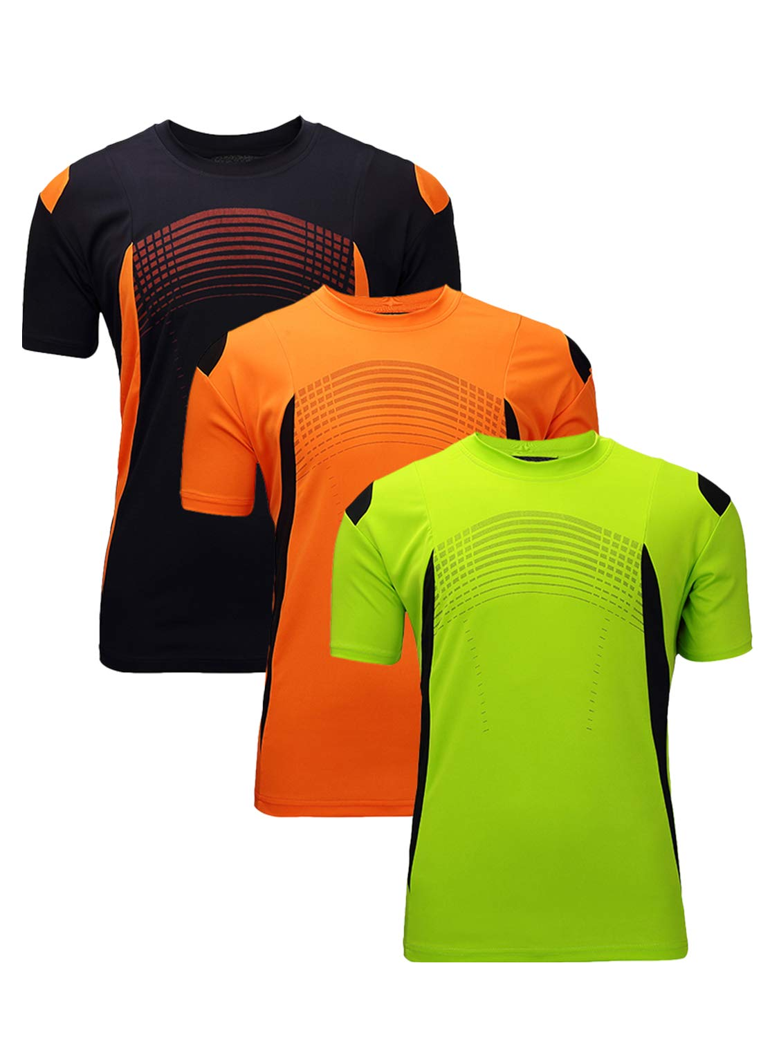 GEEK LIGHTING Men's Running Athletic Shirts,Quick Dry T Shirt(Green&Orange&Navy,XL)