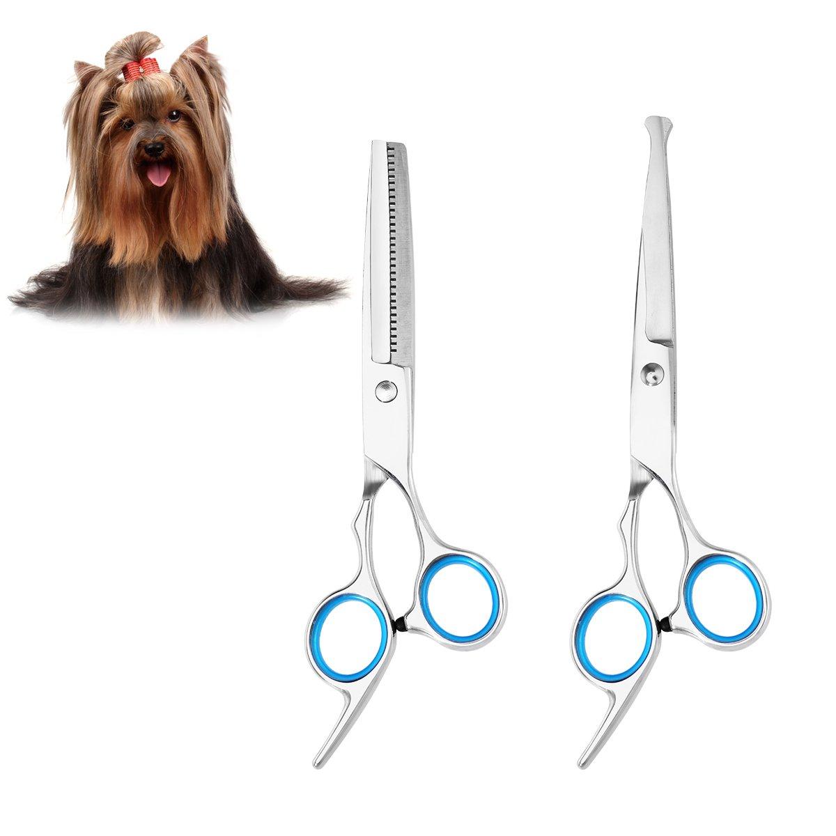 UEETEK Sharp and Strong Stainless Steel Blade Dog Cat Grooming Scissors Pet Grooming Kit- PACK OF 2