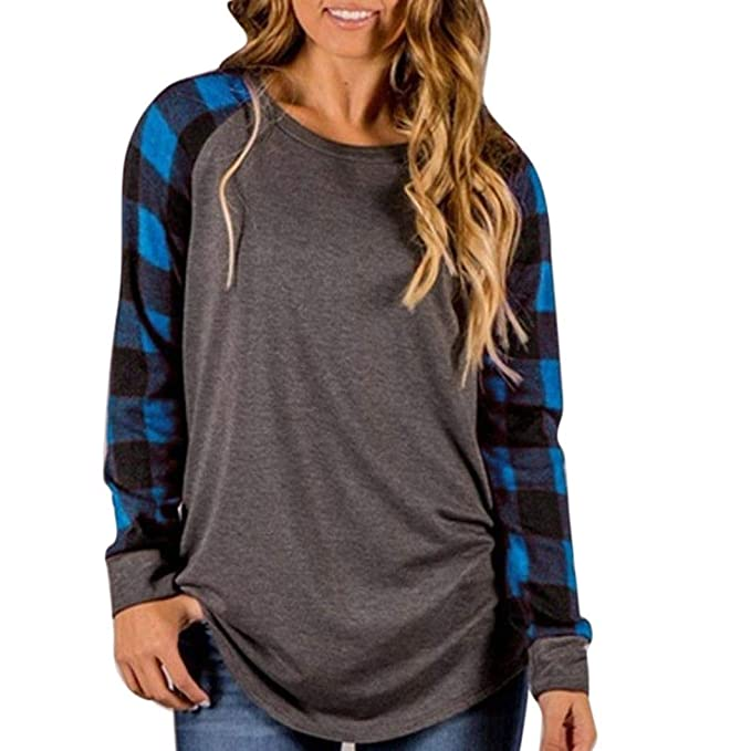 SurpeSU Frauen O-Ausschnitt Casual Langarm Sweatshirt Pullover Tops Bluse  Shirt Oberteil Tops Frau Herbst c94171925f