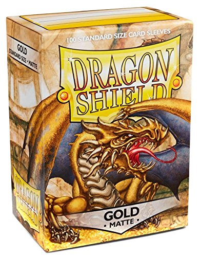 Dragon Shield Matte Gold 100 Deck Protective Sleeves Standard Size - 100 Dragon Shield Sleeves