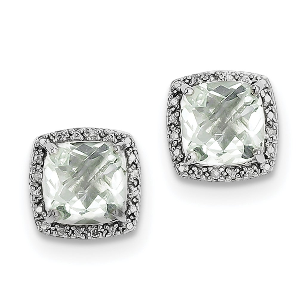 ICE CARATS 925 Sterling Silver Green Quartz Diamond Post Stud Ball Button Earrings
