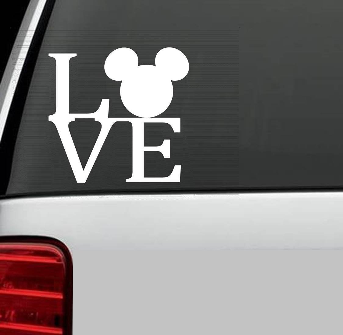 MICKEY MOUSE EARS LOGO Vinyl Decal Sticker DISNEY for Car Truck SUV Boat Trailer Mirror Wall Laptop Art (white)