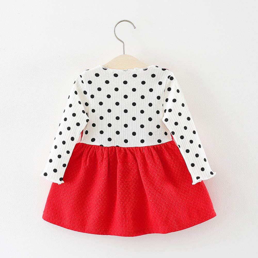 JiaMeng Bambino Vestito Bambino Infantile Manica Lunga Gonna Arco Punto Principessa dellonda DOT Bowknot Princess Dress Clothes Outfits 6M-24M