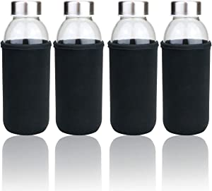 BILLIOTEAM 4Pack 14OZ Glass Water Bottles, Stainless Steel Leak Proof Lid & Nylon Water Bottle Protective Sleeves for Reusable Drinking Bottle,Sauce Jar,Juice Beverage Container