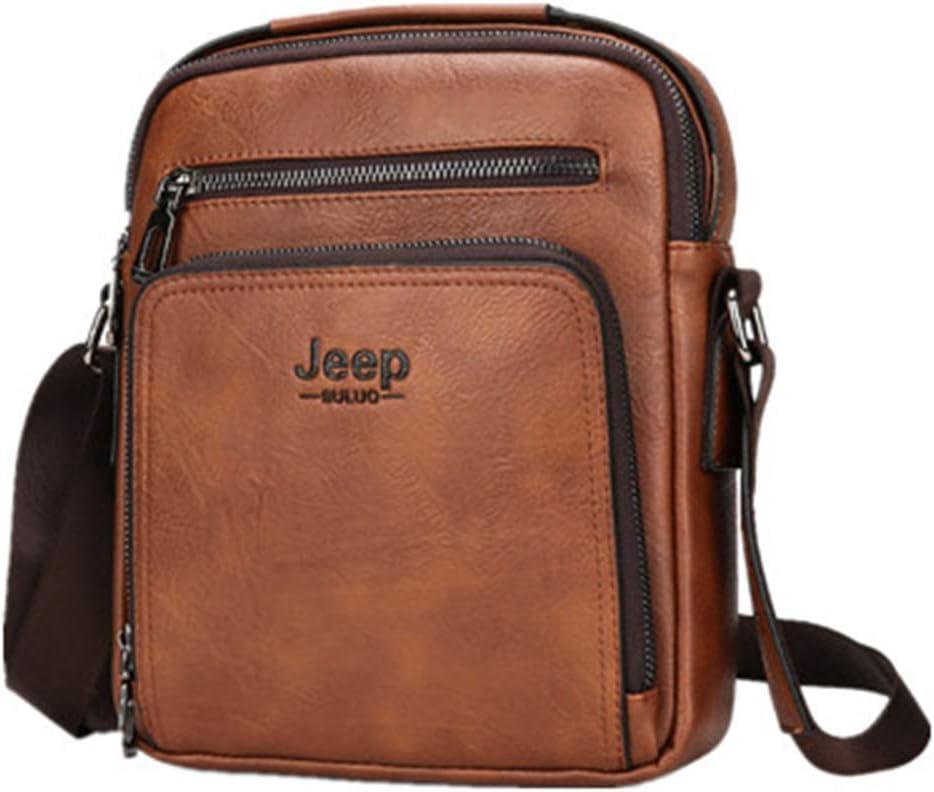 Black One/_Size Multifunctional Briefcase PU Retro Leisure Bag Slant Bag