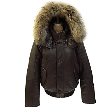Men's Winter Warm Genuine Leather Bomber Jacket with Real Fur Hood ...
