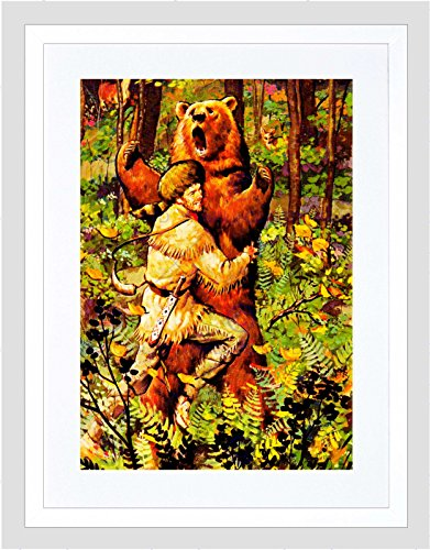 Painting Davy Crockett Wrestling Brown Bear Wilderness Framed Print B12X10808