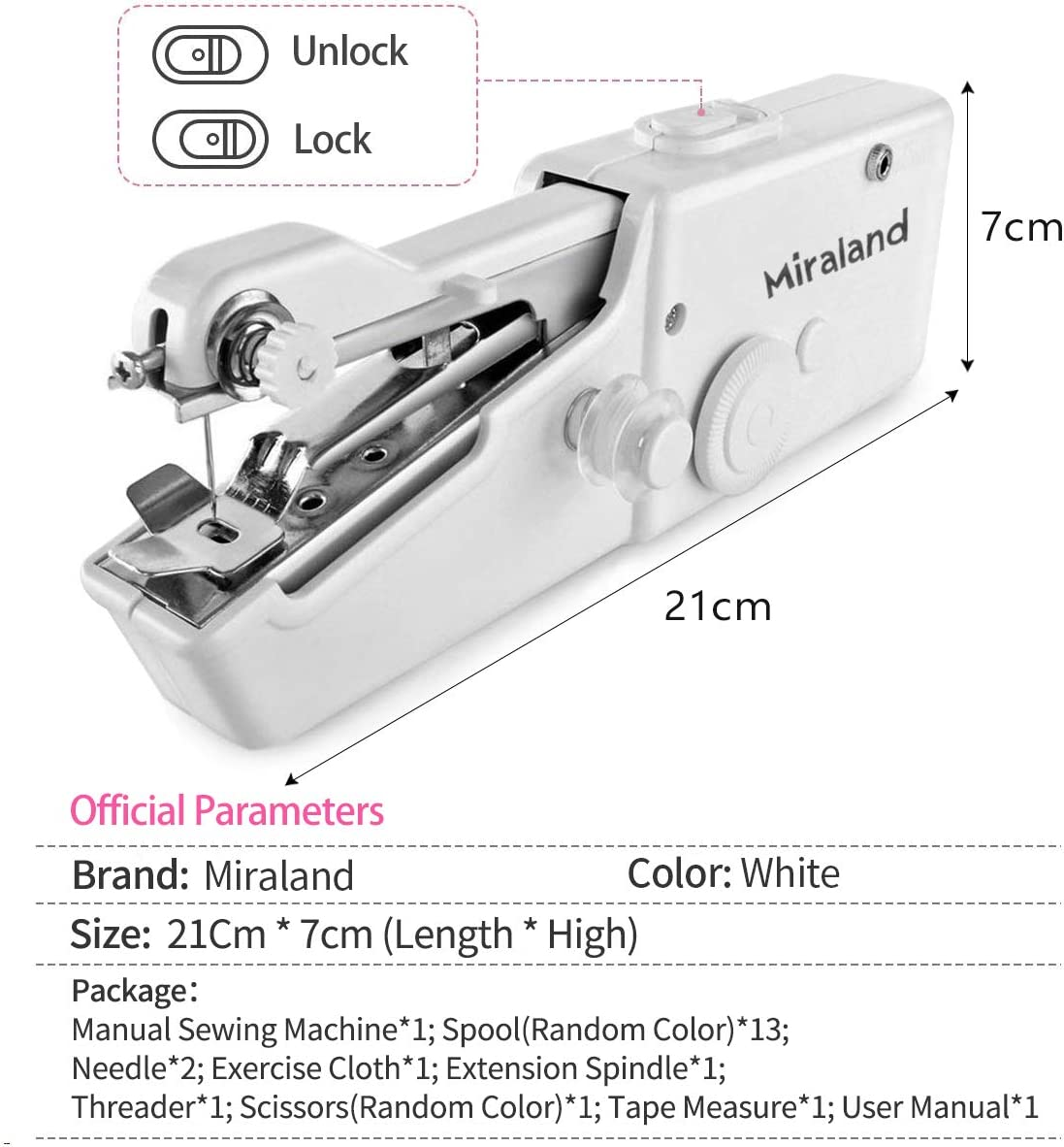 White Cloth Curtain Pet Clothes Miraland Mini Hand-held Sewing Machine Portable Electric Quick Repairing Cordless/Suitable for Denim Curtains Leather DIY Kids//Beginners Home Travel Clothes