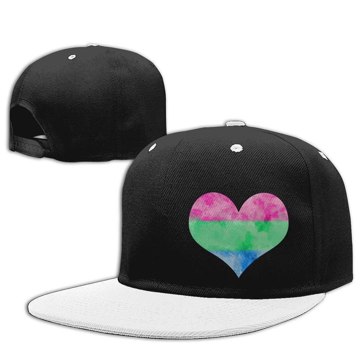 Men and Women Punk Rock Cap Poly Pride Heart Adults Flat Bill Baseball Caps