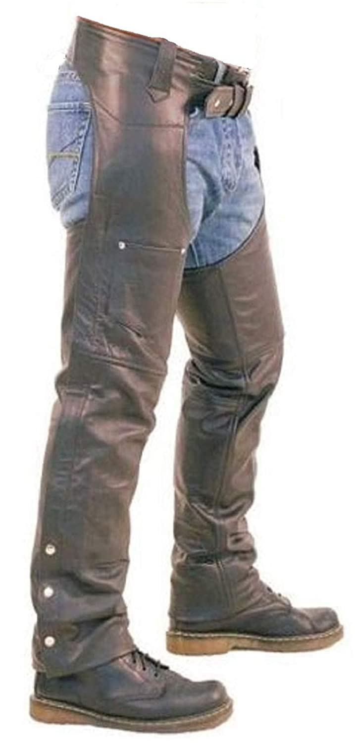 Mens Real Brown Leather Motorcycle Chaps