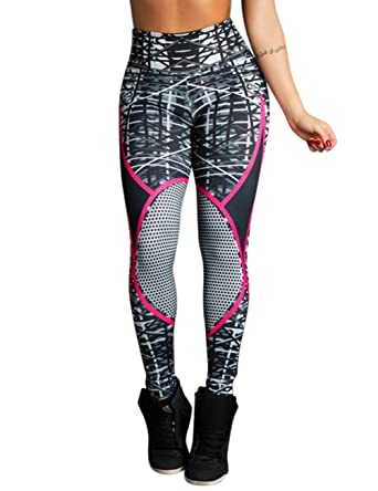 68ef10cf41076c Leoie Women Yoga Pants Geometric Print Outdoor Sports Pants Absorb Sweat  Leggings for Yoga Fitness Rose  Amazon.in  Clothing   Accessories