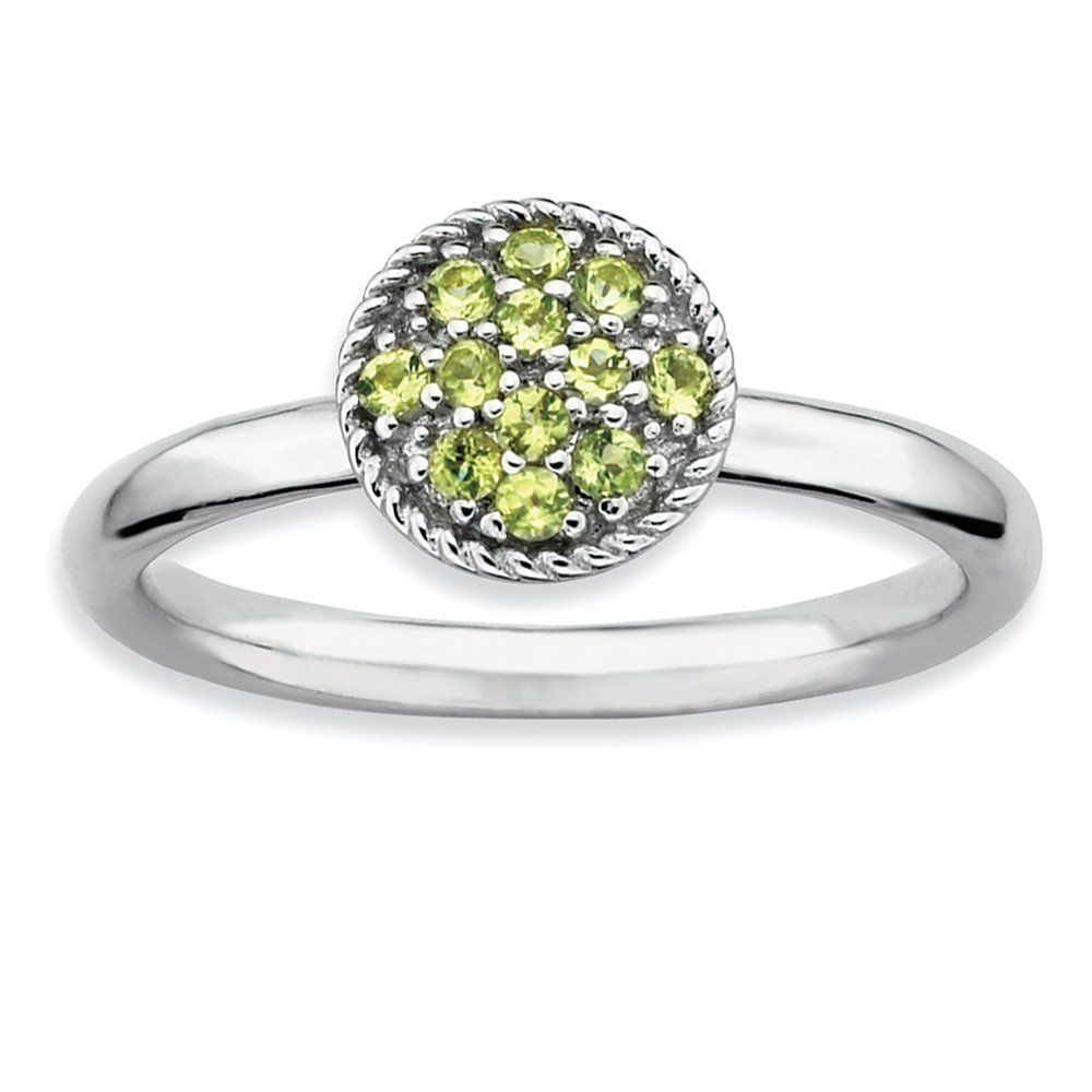 Top 10 Jewelry Gift Sterling Silver Stackable Expressions Peridot Rhodium Ring