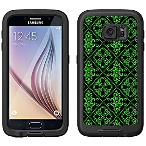 Skin Decal for LifeProof FRE Samsung Galaxy S6 Case - Victorian Gothic Green on Black