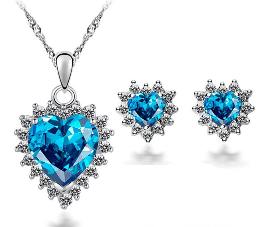 SaySure - White Gold Plated Luxury Topaz Zirconia Crystal Heart Titanic
