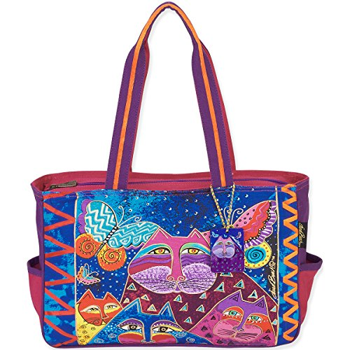 - Laurel Burch Medium Tote, 15 by 4 by 10-Inch, Cats with Butterflies