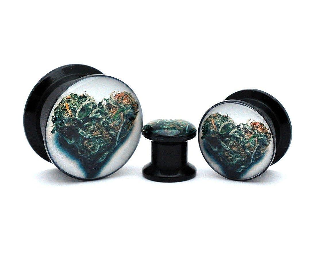 nugroho/_mys 1//2-12mm Pair of Black Acrylic Love Bud Picture Plugs