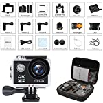 COOAU 4K Waterproof Action Camera, 30M Underwater Camcorder Sport Cam, 170°Wide Angle, 1050mAh Battery, 20 Accessories Kit for Bike Motorcycle Surfing Diving Swimming Skiing Climbing, Black