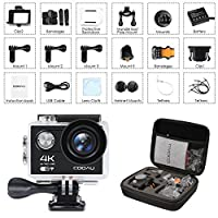 COOAU 4K Action Camera Cam, 30M Underwater Waterproof Sport Helmet Camcorder, 170°Wide Angle, 1050mAh Battery, 20 Accessories Kit for Bike Motorcycle Surfing Diving Swimming Skiing Climbing, Black