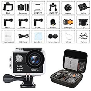 COOAU 4K Action Camera Cam, 30M Underwater Waterproof Sport Helmet Camcorder , 170°Wide Angle, 1050mAh Battery, 20 Accessories Kit for Bike Motorcycle Surfing Diving Swimming Skiing Climbing, Black