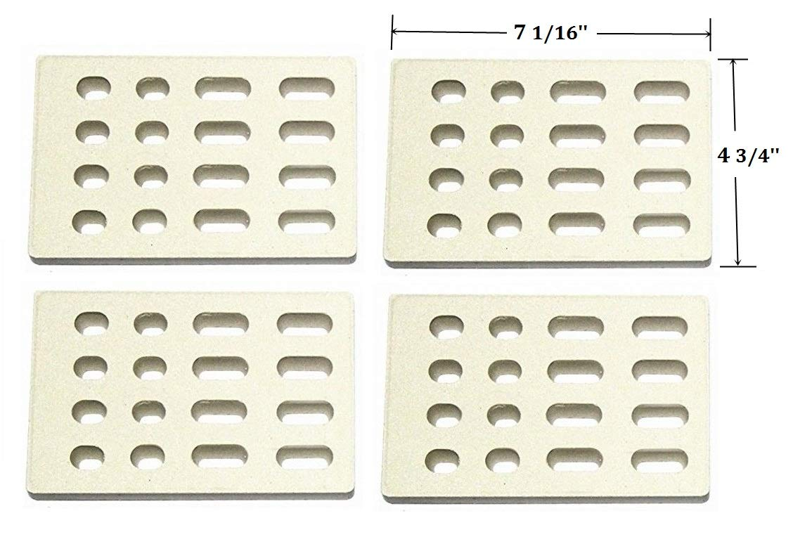 Hongso CRB65504 (4-Pack) Universal Replacement Heat Plate Flame Tamer, Ceramic Brick Flame Tamer, Ceramic Radiant Replacement for BARBEQUES Galore Grand Turbo by Hongso (Image #2)