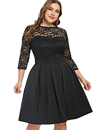04568005b40c Kenancy Women s Plus Size Lace A Line Dress Vintage 3 4 Sleeves Cocktail  Party Midi
