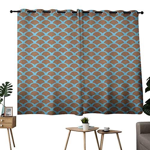 NUOMANAN Customized Curtains Fish,Squama Pattern with Intertwined Half Circles Aquatic Animal and Snake Scale Design, Tan Pale Blue,Blackout Draperies for Bedroom 42