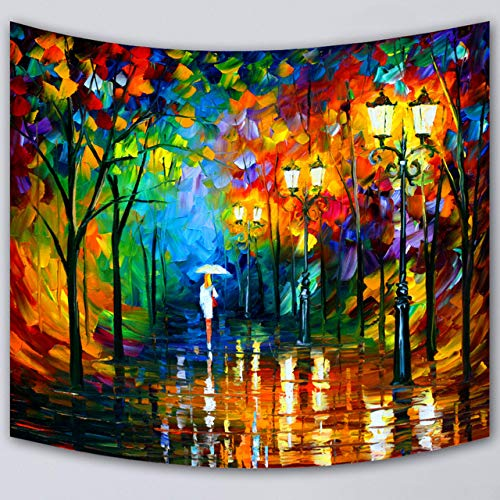 (QCWN Woman Décor Tapestry,Silhouette of Lonely Woman Light Rain Umbrella in The Forest Street Lamp Watercolor Oil Painting Tapestry for Home Décor.(12, 59Wx51L))