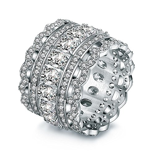 - INRENG Vintage Princess Cubic Zirconia Cocktail Eternity Statement Ring Wide Wedding Band 18k White Gold Plated Jewelry Graduation Gifts Size 9