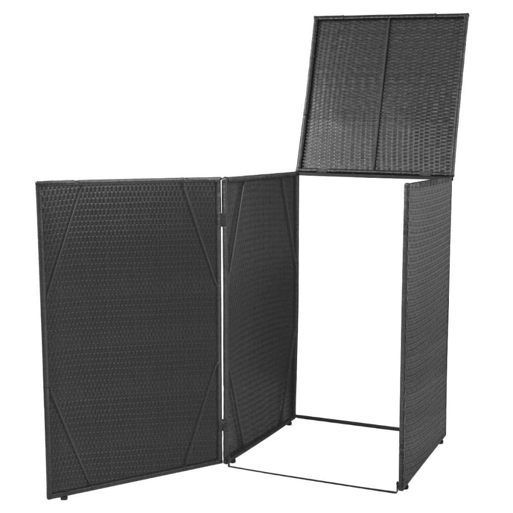 vidaXL Single Wheelie Bin Shed Poly Rattan Wicker Black Garden Storage Cover
