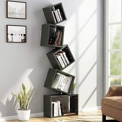 Tribesigns 5 Shelf Bookshelf Modern Bookcase Wall Mount Floating Storage Rack Organizer For CD