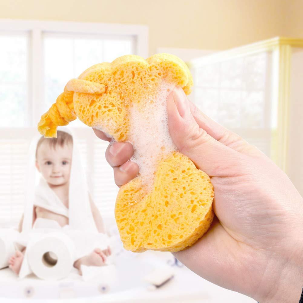 Baby Bath Sponge Cartoon Animal Shaped Soft Shower Sponge for Newborns Multi Purpose Massage Sponge Bathing Supplies Yellow