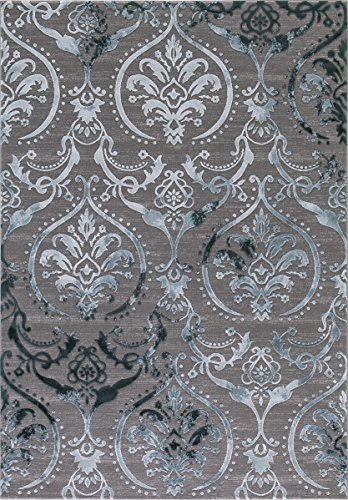 """Wow Home Concord Global Thema Large Damask Teal - Gray Area Rug 7'10"""" x10'6 from Concord Global Trading"""