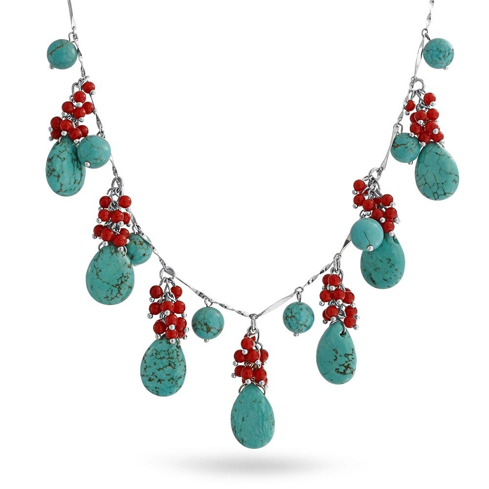 Bling Jewelry Drop Style Beaded Synthetic Turquoise Synthetic Coral Rhodium Plated Necklace 16 Inches