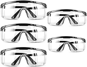 5 PACK Clear Safety Glasses Personal Protective Equipment Standard Transparent Goggles UV Protection Adult Over Glasses Goggle, Eyewear Protection -Black Color