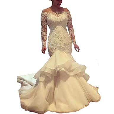 cfe31e9ce Thrsaeyi Vintage Mermaid Wedding Dress 2018 Lace Applique Off Shoulder  Bridal Gowns Long Sleeves Plus Size Wedding Gown at Amazon Women's Clothing  store: