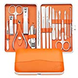 Manicure Pedicure Nail Clipper Set - 16 Pieces Stainless Steel Manicure Kits For Women and Men with Travel Case, Great Hand Facial and Feet Care Tools (ORANGE)