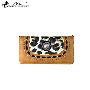 28f31fdef0 Montana West Leopard Wallet Cross Body Bag (Brown) at Amazon Women s  Clothing store