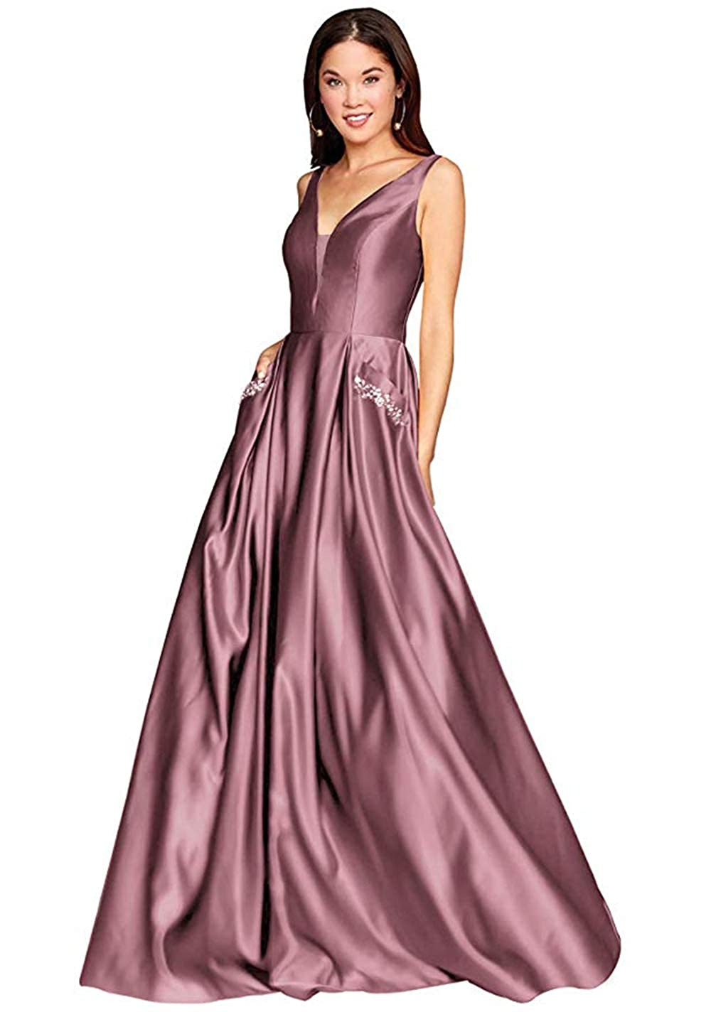 01dustypink PROMNOVAS Women's V Neck Backless Beaded Satin Prom Dress Long Formal Evening Gown with Pockets