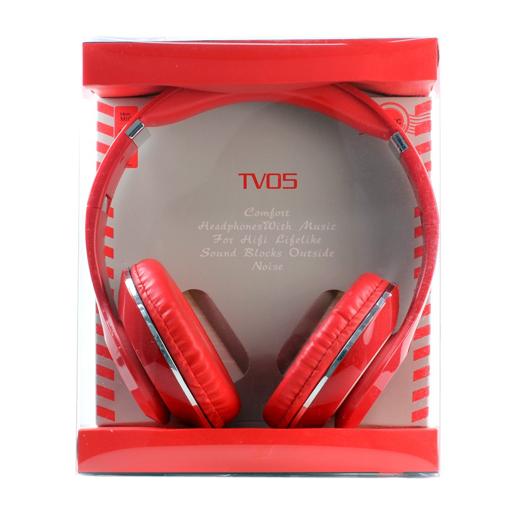 GummyCase HD Sound Solid Glossy Wired Double Earpiece Ear-Cup Over The Ear Headband Headset Headphone Earphone Built-in Microphone Hands-Free Calls Sweat Proof with 3.5mm Jack, Red