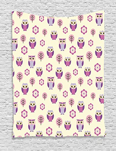 Ambesonne Owls Home Decor Collection, Owl Cartoon Pattern Feminine Soft Colors Happy Springtime Decorative Art, Bedroom Living Room Dorm Wall Hanging Tapestry, Lilac Purple Soft - Of Feminine Owl