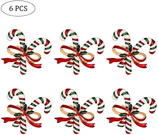 Set of 6 Christmas Tree Stockings Candy and Bells with Diamond for Christmas Thanksgiving Table Decoration Volwco Christmas Napkin Rings