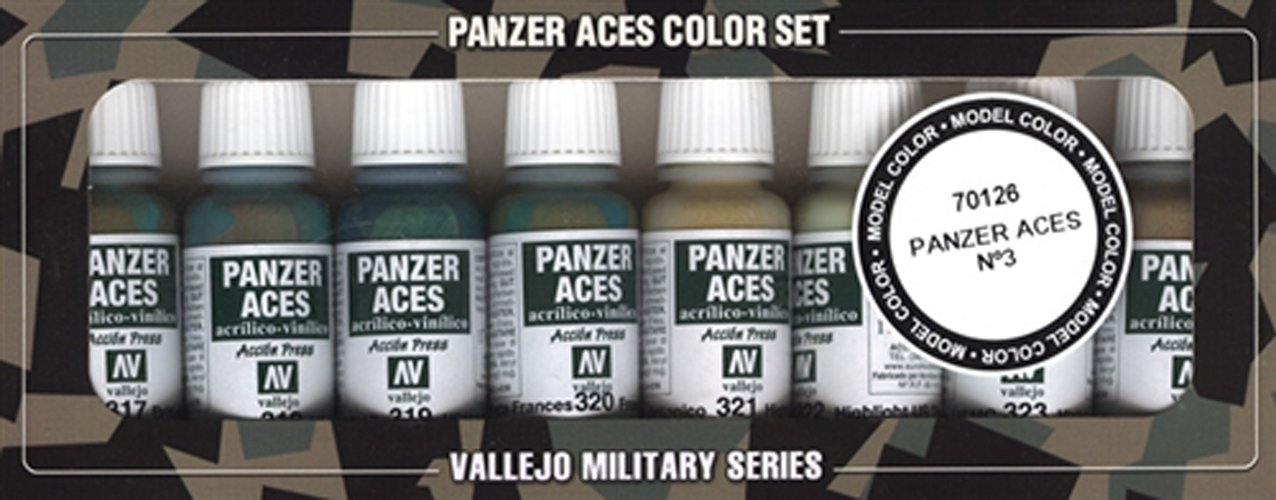 Vallejo Model Color Panzer Aces-Set pittura acrilica, n. 3, colori assortiti (confezione da 8) Acylicos Vallejo VJ70126