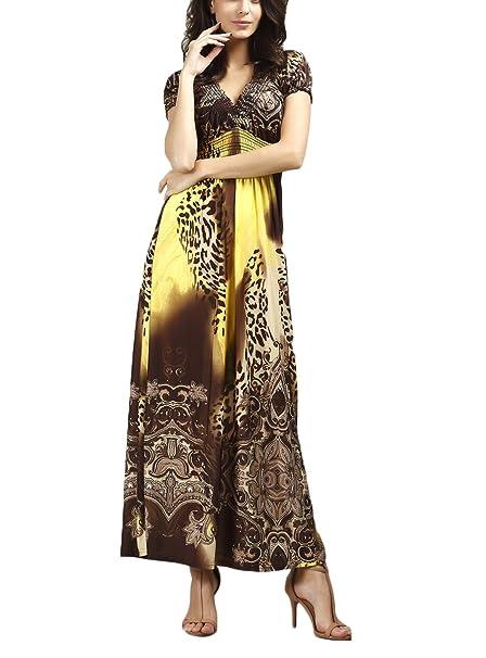Mujer Vestidos Playa Vestidos Largos De Verano Elegantes Manga Corta V Cuello Vestido Largo Moda Casual Leopardo Estampado Dulce Lindo Chic Hippies Vestidos ...